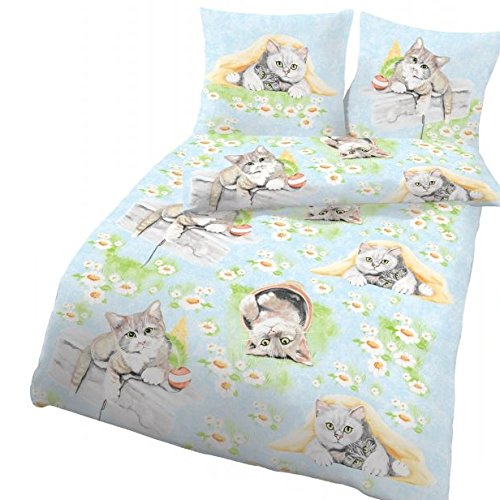 IDO Mädchen Bettwäsche Kinderbettwäsche · CUTE CAT · niedliche Katzen & Blumen Kinder Jugend Bettwäsche · Kissenbezug 80 x 80 cm + Bettbezug 135 x 200 cm · 100 % Baumwolle