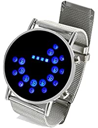 SODIAL(R) Plateado Moda Reloj de Pulsera Espejo de Acero Inoxidable Circulos Azules Redondo con LED