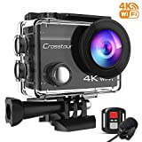 Crosstour Action Cam 4K 16MP WiFi Sports Kamera Helmkamera Unterwasserkamera mit externem Mikrofon Anti-Shaking...