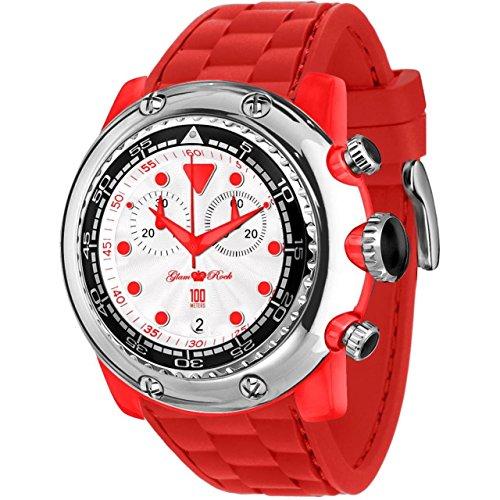 Glam Rock Men's Miami Beach 50mm Red Silicone Band Polycarbonate Case Quartz White Dial Watch GR20135