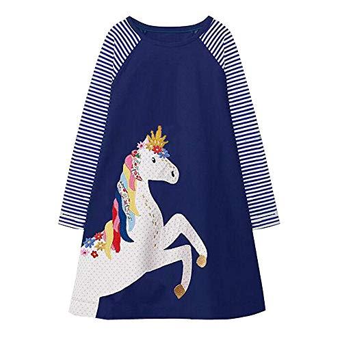VIKITA Mädchen Baumwolle Langarm Streifen Tiere T-Shirt Kleid EINWEG JM7655 6T