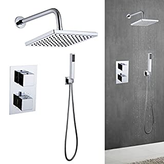 AutoBaBa Square Concealed Thermostatic Mixer Shower Set Chrome Valve 8