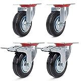 Design61 con perno filettato e freno per pavimenti morbidi Set di 4 ruote per mobili diametro 40 cm
