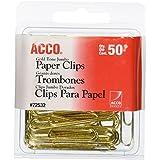 Clips de papel, alambre, Jumbo, 1 - 3/4 pulgadas, tono dorado, 50/caja