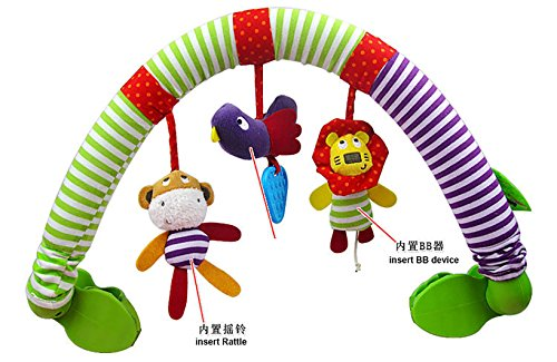 Dearmy Baby Schön Karikatur Tier Musik Spielzeug Neugeborenes Beschwichtigen Krippe Kinderwagen Clip Plüsch Ausgestopft Rassel Mobiles Spielzeuge Mit Beißring und BB Gerät (ohne Verkauf Box)
