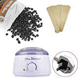 100G Anglewolf Waxing Kit Electric Wax Warmer Heater with Hard Wax Beans(100G) and Wax Applicator Sticks(12pcs) for Hair Removal (Black)