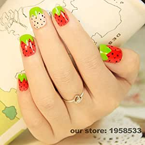 Generic 1131 : 24pcs Pre-design OL Must Acrylic French False Nail Art Tips Lady Love Pink Red Green Strawberry Z053