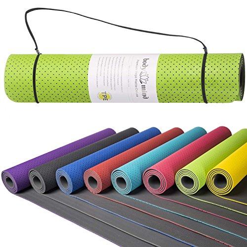 Goods & Gadgets Body & Mind Yogamatte - Umweltfreundliche, Hypo-allergene Yoga TPE-Matte - extrem Rutschfest, weich und schadstoff-frei - 183 x 61 x 0,5cm inkl. Trageschlaufen - Grün