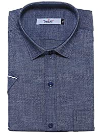 aafc0329ee Twist Men s Demin Blue Solid Linen Half Sleeve Shirt with Contrast   Free  Shipping