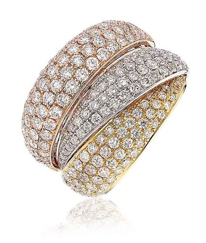 S2 Three Tone Round Brilliant Cut Pave Russian Wedding Diamond Ring in 18K Rose, White and Yellow Gold ()