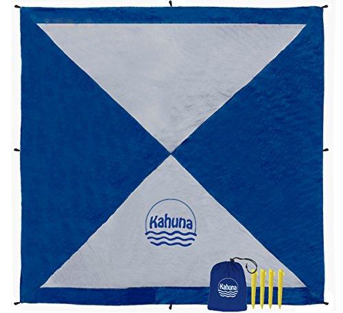 Kahuna Stranddecke aus Fallschirmseide - XXL 245 x 245 cm - Strandtuch, Strandmatte, Picknickdecke, Campingdecke - sandfrei, tragbar, dünn & Ultraleicht -