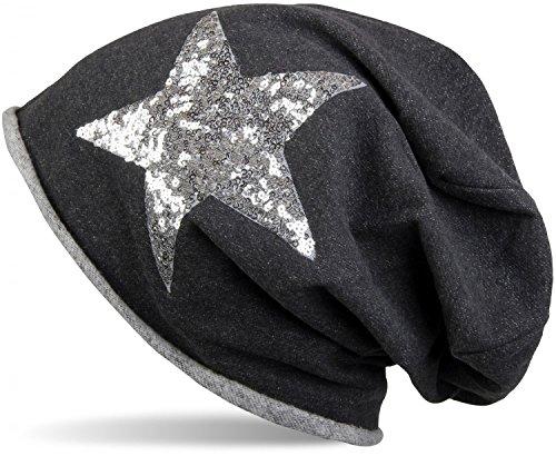 styleBREAKER Beanie Mütze mit silbernem Pailletten Stern und Rollrand, Damen 04024056, Farbe:Schwarz