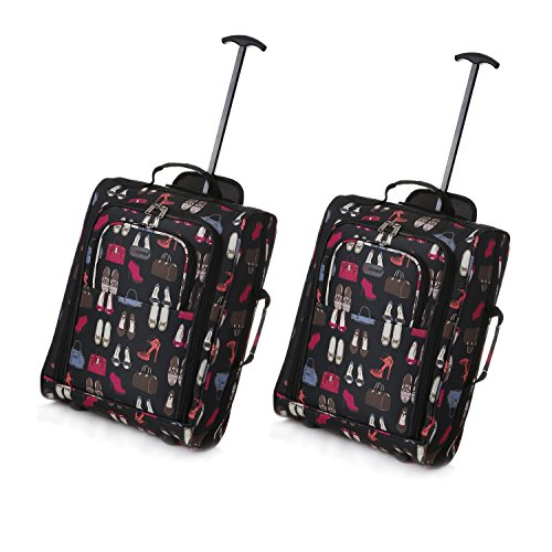 Set de Deux Bagage à Main Valise à Roulettes Bagage de Cabine (Noir + Sacs et chaussures)