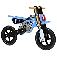 CHILDRENS KIDS BOYS WOODEN BLUE MOTORBIKE BALANCE TRAINING FIRST BIKE