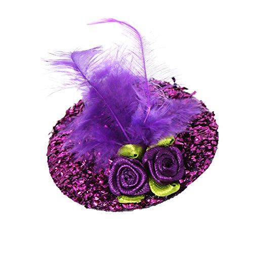 JUSTFOX - Glitzer Mini Hut mit Blumen und Federn Verzierung Karneval Mütze (lila)