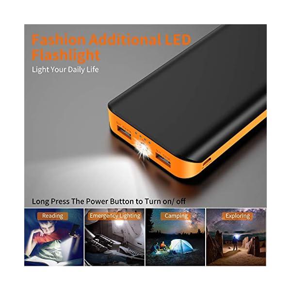 Powerbank 10000mAh, Caricabatteria Portatile QC3.0 Batteria Esterna Portatile Carica Veloce con 2 Ingressi e Uscite… 3 spesavip