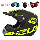 CHEYAL Adult Motocross Helm MX Motorrad Helm ATV Roller ATV Helm D.O.T Zertifiziert Rockstar Multicolor Mit Brille Handschuhe Maske (S, M, L, XL),L