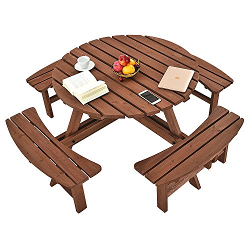 PananaHome 8 Seater Pine Round Wooden Picnic Table and Bench Garden Furniture Set Outdoor Patio Park