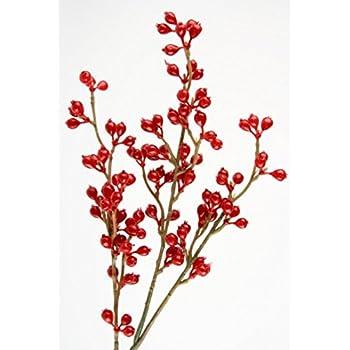 30 cm rot f/ür weihnachtliche Dekorationen Rayher 55870000 Beerenzweig aus Kunststoff