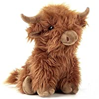 Blue Frog Toys 26cm Large Highland Cow Cuddly Soft Toy - Brown