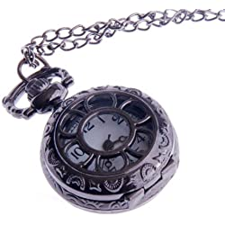 Ladies Quartz Pocket Pendant Watch With Chain Small Face Half Hunter White Dial Arabic Numerals Vintage Necklace Design PW-56