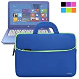 Evecase HP Stream 13/ 14 13.3-14inch Laptop Sleeve, Portable Slim Neoprene Travel Carrying Case Bag w/ Dual Handle and Accessory Pocket – Blue