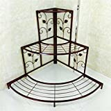 Outdoor Herb Flower Plant Stands European style rural Iron Multiple layers Flower racks Corner ladder Flower pot rack balcony Flower shelf(Colour:Brown) Indoor and Outdoor Use Vintage Style ( Size : L )