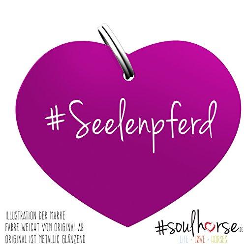 Pferde Glücksmarke #Seelenpferd lila – Gücksbringer - Soulhorse Anhänger Halfter, Trense, Zaumzeug, Sattel, Vorderzeug