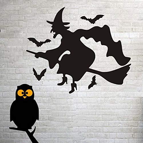 huangyuzzzz Wandaufkleber Schwarze Fledermäuse DIY PVC Abnehmbare Hexe Besenstiel Hexe Halloween Vinyl Wandtattoo Hallowmas Dekorationen Wohnkultur 43 cm X 52 cm (Niedliche Für Halloween-ideen Mädchen)