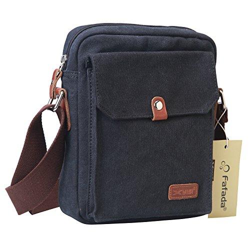Fafada Schultertasche Herren Canvas Retro Umhängetasche Handtasche Messenger Bag Dunkelgrau