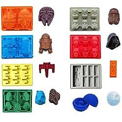 Fun Summer Gear Juego de 8 piezas Bandejas de bandeja de hielo de Star Wars / Moldes de silicona de chocolate: Stormtrooper, Darth Vader, X-Wing Fighter, Millennium Falcon, R2-D2, Han Solo, Boba Fett