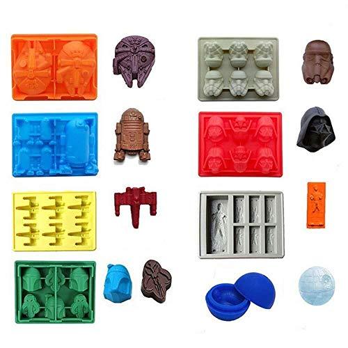 8-teiliges Einstellen Star Wars Eiswürfelschalen/Schokoladensilikonformen: Stormtrooper, Darth Vader, X-Wing Fighter, Millennium Falcon, R2-D2, Han Solo, Boba Fett und Todesstern