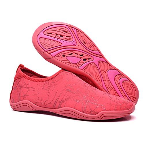 JINDENG Scarpe da Acqua Uomo Donna Scarpe da Spiaggia a Piedi Nudi Scarpette da Bagno Traspirante Mare Spiaggia Surf Yoga Swim Unisex Water Shoes rosso-A