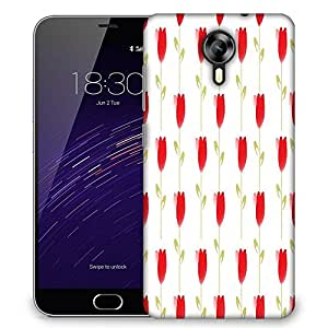 Snoogg Red Flowers Designer Protective Phone Back Case Cover For Meizu M2