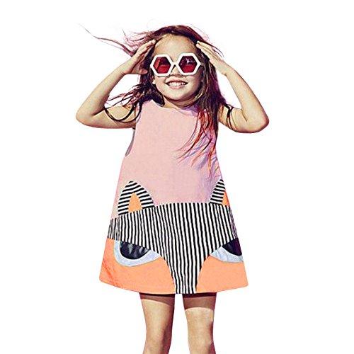 Mignon col Rond Un Mot Jupe Toddler Kid bébé Fille vêtements Fox Princess sans Manches Robes de soirée Tenues S-XL (Pink, L)