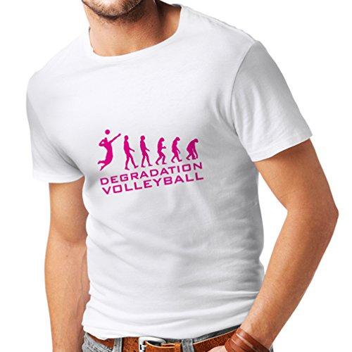 lepni.me N4275 Männer T-Shirt Abbau Volleyball (X-Large Weiß Magenta)