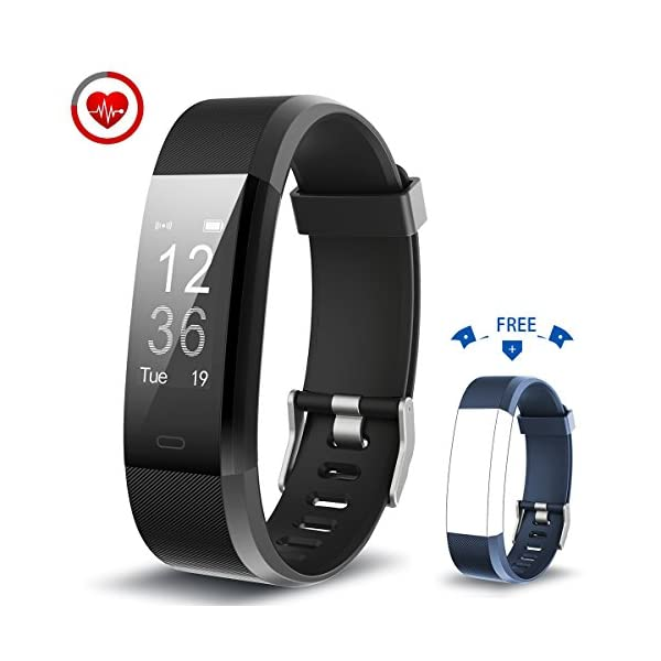 Fitness TrackerVigorun YG3 Plus Activity Tracker Real Time Heart Rate Monitoring Remote Shutter Multi Sport Mode Call Notification Pedometer Calories Sleep Monitoring Compatible With AndroidiOS