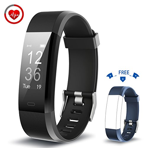Fitness-Armband mit Herzfrequenz-Monitor Vigorun YG3 Plus Bluetooth Punkt Touch Fitness Tracker Fernbedienung Kamera steuerung / mehrere Sport-Modus funktioniert für Android & iOS Smart Phones (Schwarz+Blau)