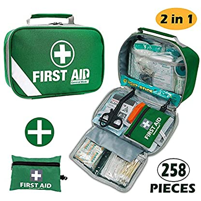 First Aid Kit (215 Pieces) + Bonus 43 Pieces Mini First Aid Kit - Includes Emergency Blanket, Bandage, Scissors for Home, Car, Camping, Office, Boat, and Traveling 1