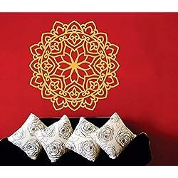 Yoga Tatuajes de Pared Mandala Patrón Marroquí Decoración para el Hogar Arte Mural Vinilo Sala de Estar Pared Stickr Flor Sofá Fondo Decoración 42 * 42 cm