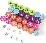 Alphabet Stamp Set pour Les Enfants, Bestele 26 Pcs Caoutchouc Encre Lavable Stampers Seal pour Enfants Party Favor, Prix de l'école, Cadeau d'anniversaire, Apprendre Les Accessoires