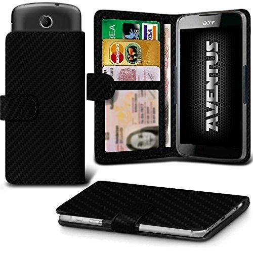 Aventus (Kohlenstoff-Faser) Acer Liquid Z320 Premium-PU-Leder Universal Hülle Spring Clamp-Mappen-Kasten mit Kamera Slide, Karten-Slot-Halter & Banknoten Taschen