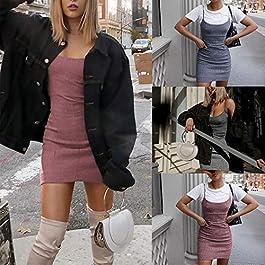 5169694317bc Innerternet Abito da Donna Senza Maniche Taglia Forti Tinta Unita Slim Mini  Corta Elegante Sexy Estivo ...
