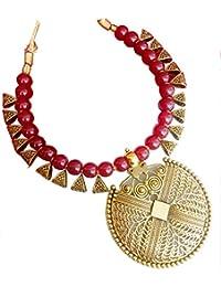 7e41b89f1 Bhagya Lakshmi Alloy Maroon Contemporary Fashion Antique Necklace