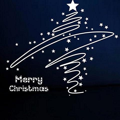 Transer® Creative Merry Christmas Weihnachts Geschenk Abnehmbare Wand Aufkleber art home decor Aufkleber Free Size for All weiß