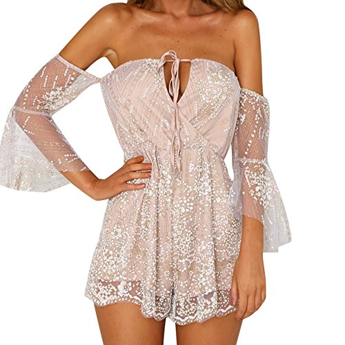 Elegant, Frauen Pailletten Overall Bodysuit Sommer Strand Club Party Stilvolle Jumpsuit Lace Straps Schulterfrei Kurzes Kostüm (S, Rose Gold) (Plus Size Leopard Kostüm)