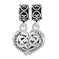 Uniqueen Sterling Silver Grandmother Granddaughter Celtic Knot Charm fit Pandora Bracelet