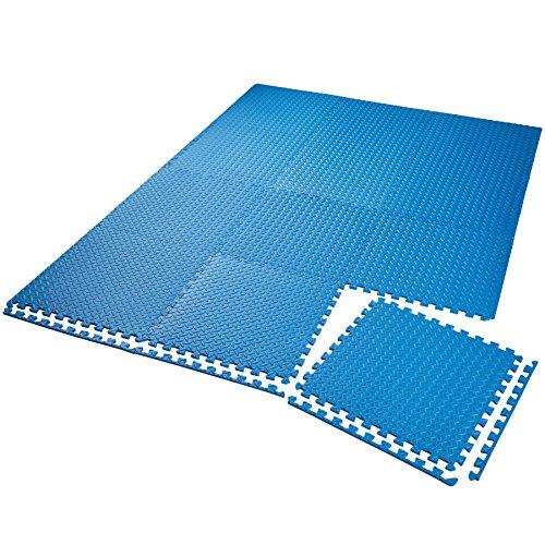 TecTake Lot de tapis de protection tapis de fitness | Antidérapant, antitaches | Système emboîtable extensible - diverses quantités et modèles (12x bleu | no. 402654)