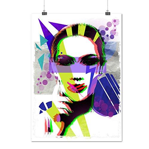 Menschen Modisch Kunst Mode 80er Jahre Gesicht Mattes/Glänzende Plakat A3 (42cm x 30cm) | Wellcoda (80er Jahre Weiblich Symbole)