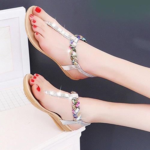 Ouneed® Damen Sandalen ,Damen Sommer glitzer flache Schuhe Perlen Böhmen Freizeit Sandalen Peep-Toe Flip Flops Schuhe 2017 Silber